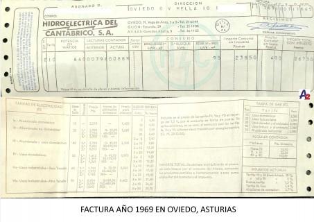 LA FACTURA DE LA LUZ EN 1969